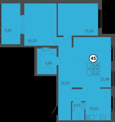 Планировка Двухкомнатная квартира площадью 96 кв.м в ЖК «Образцовый квартал 4»