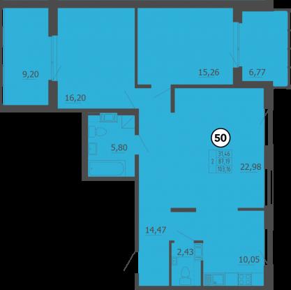 Планировка Двухкомнатная квартира площадью 103 кв.м в ЖК «Образцовый квартал 4»