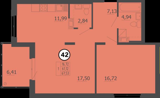 Планировка Однокомнатная квартира площадью 68 кв.м в ЖК «Образцовый квартал 4»
