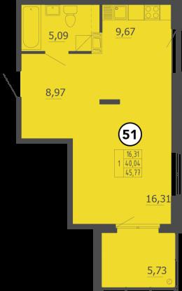 Планировка Однокомнатная квартира площадью 46 кв.м в ЖК «Образцовый квартал 4»