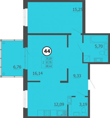 Планировка Двухкомнатная квартира площадью 69 кв.м в ЖК «Образцовый квартал 4»
